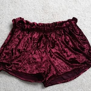 Crushed red velvet booty shorts